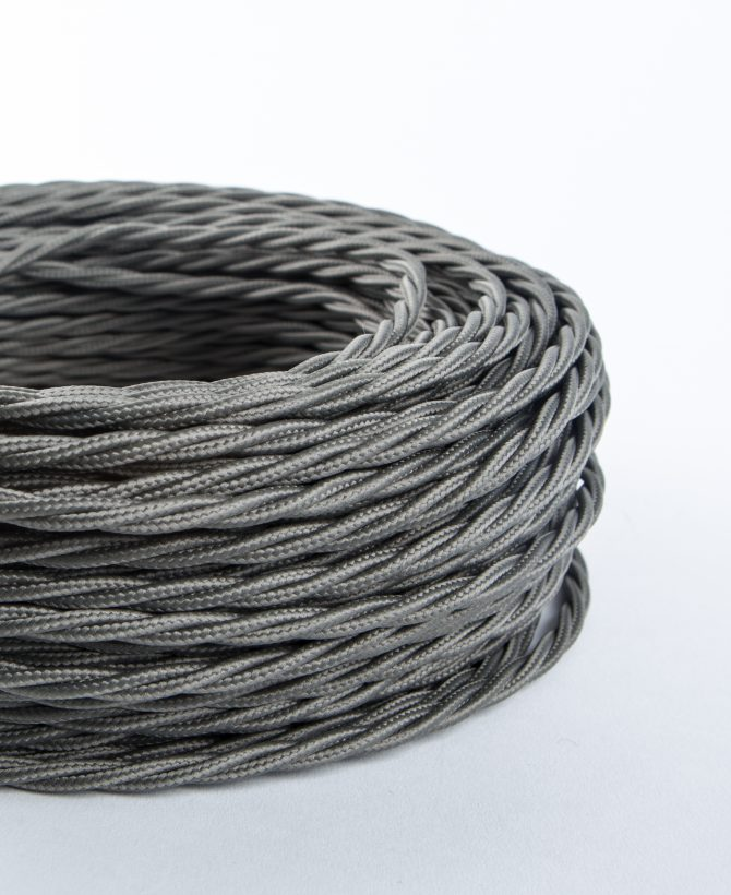 dark steel grey twisted Fabric Cable for Lighting