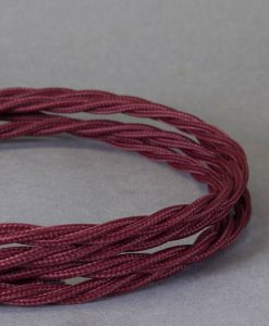 burgundy braided fabric cable for lighting
