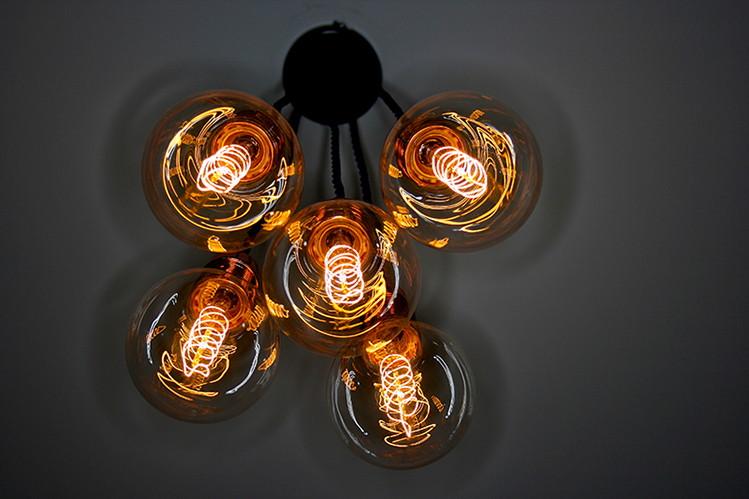 light made with 5 globe vintage light bulbs
