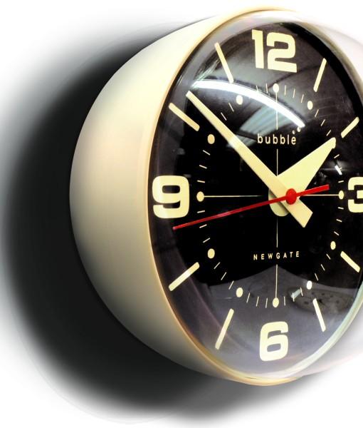 Retro Newgate Bubble Wall Clock In Cream With Black Face