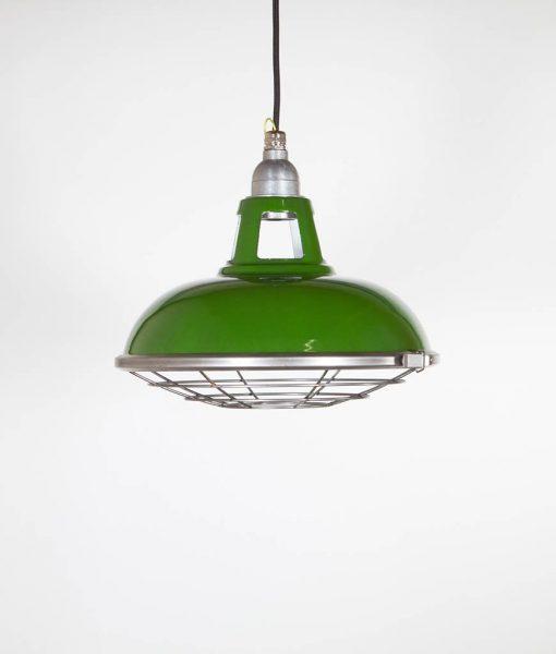 green enamel caged light