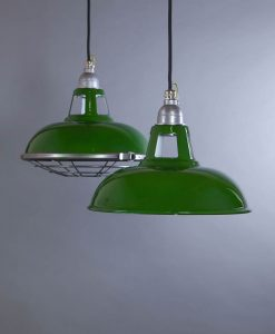 Farsley Green Industrial Lighting - Enamel Industrial Style Pendant Lights