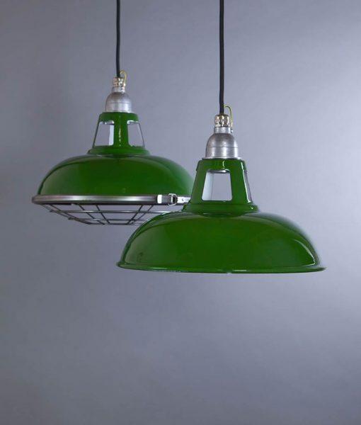 Farsley Green Industrial Lighting - Enamel Industrial Style Pendant Lights