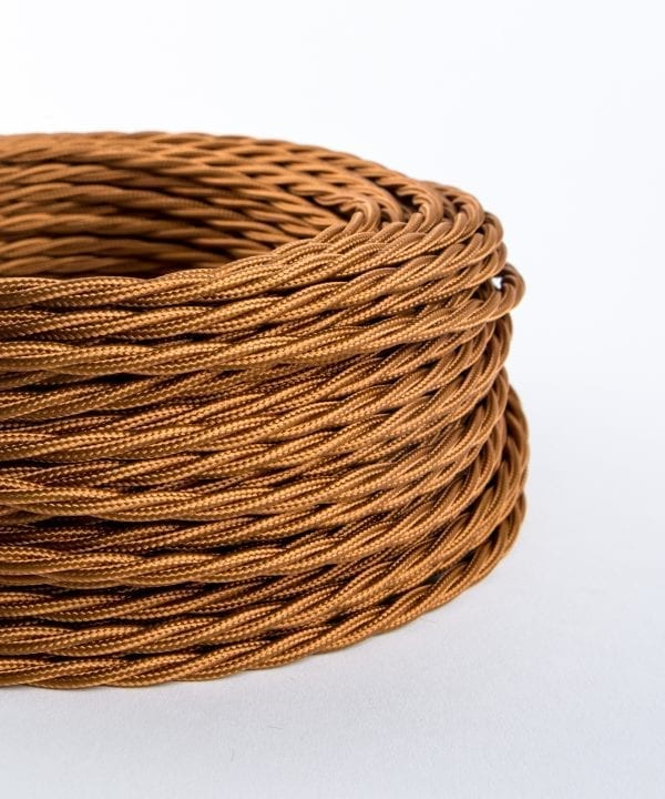 amber gold twisted fabric cable for lighting