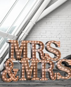Mrs and Mrs illuminated letter lights