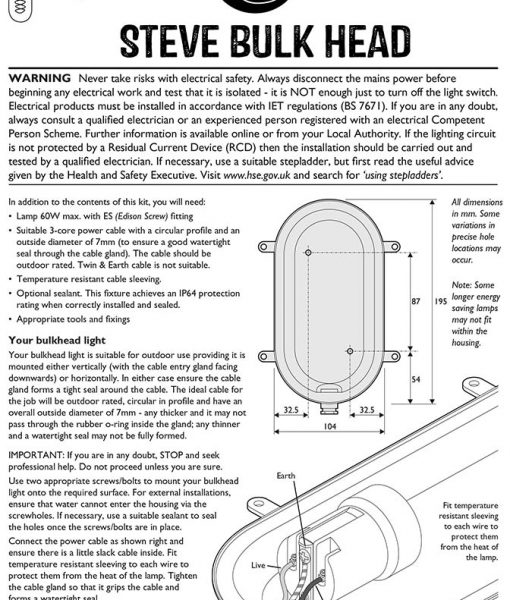 instructions bulkhead wall light steve silver