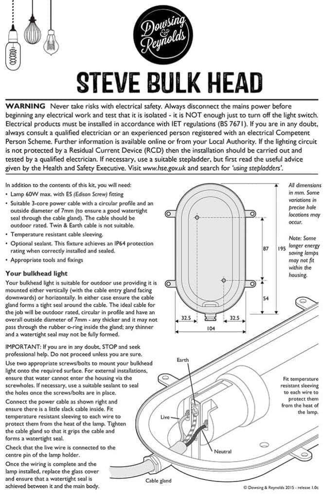 instructions bulkhead wall light steve silver