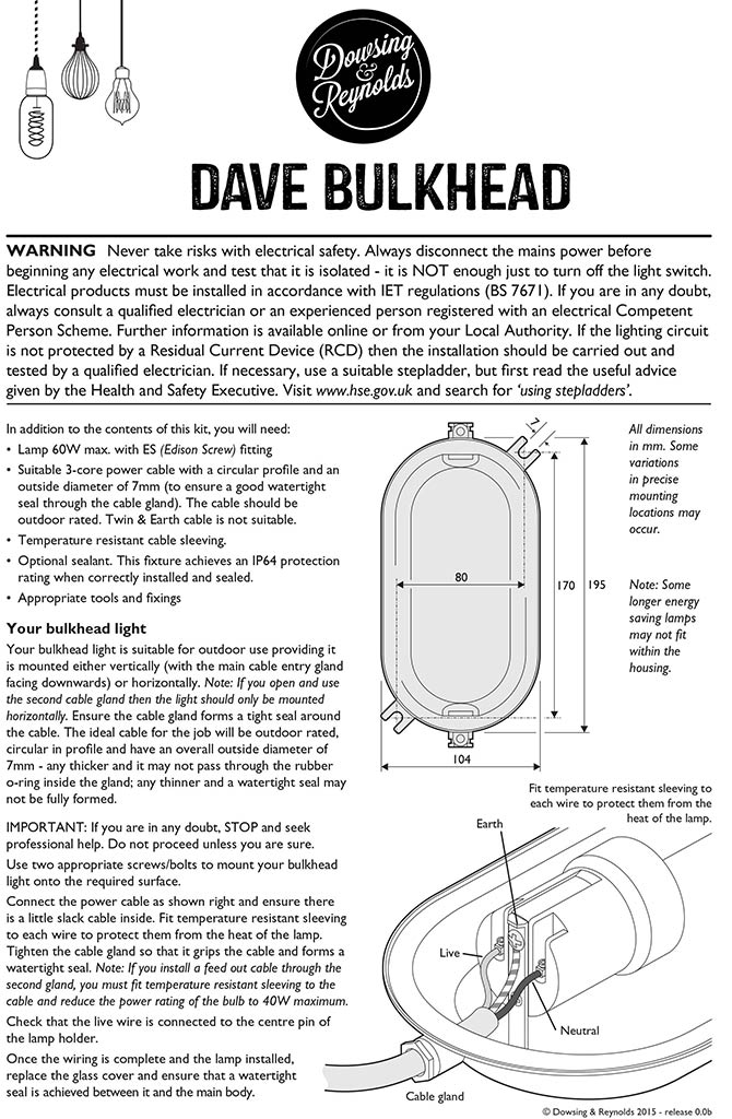 bulkhead light instructions dave silver