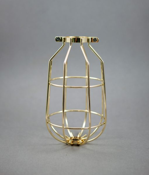 shiny gold cage for industrial lighting
