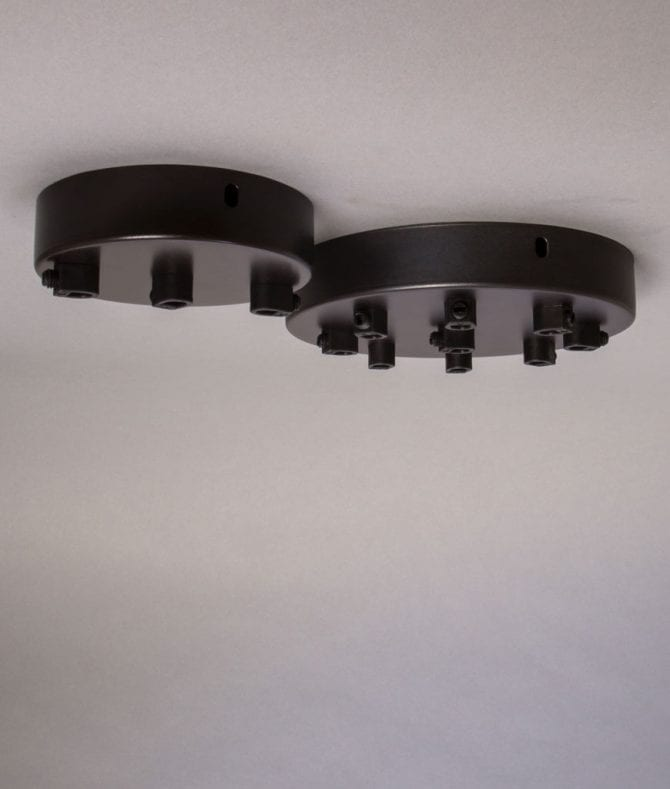 multi outlet ceiling rose in Farrier Bronze