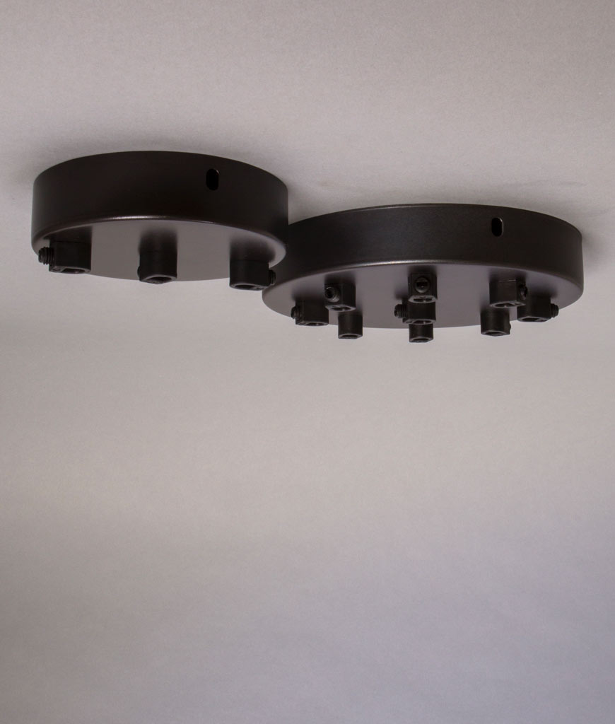multi outlet ceiling rose in Farrier Bronze