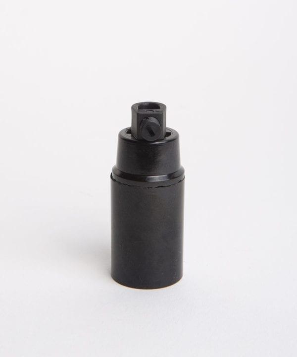 black thermoplastic e14 bulb holder against white background