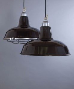 Burley black Industrial Lighting - Enamel Industrial Ceiling Lights Optional Cage