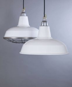BURLEY white industrial lighting is a range of enamel factory style ceiling lights