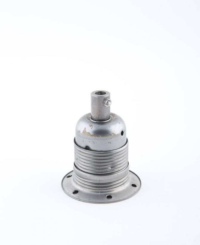 raw steel e27 domed light bulb holder