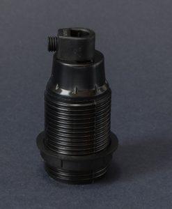E14 bakelite lamp socket in black