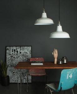 white industrial light fixtures