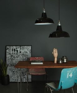 black enamel industrial ceiling lights