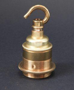E27 Light Bulb Holder Hooked Gold Brass