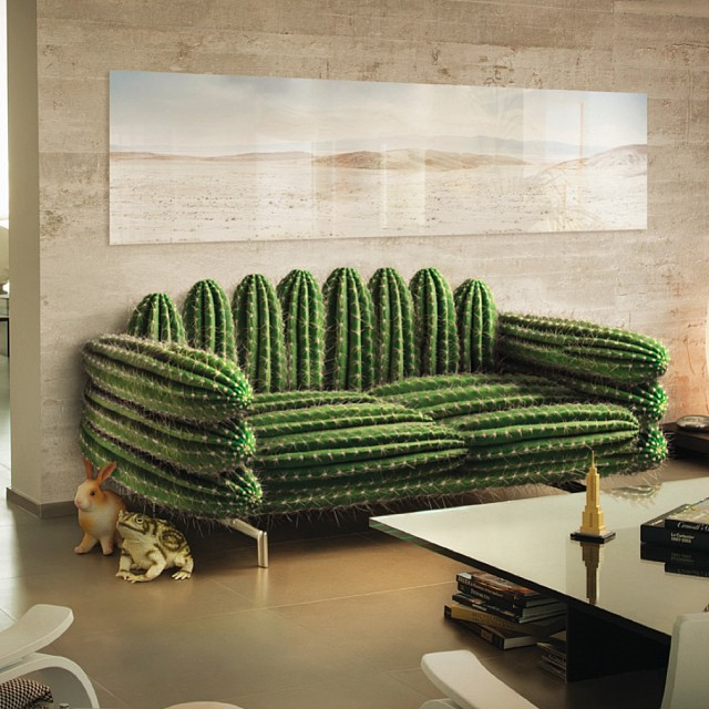 cactus inspired sofa in a stone marble interior