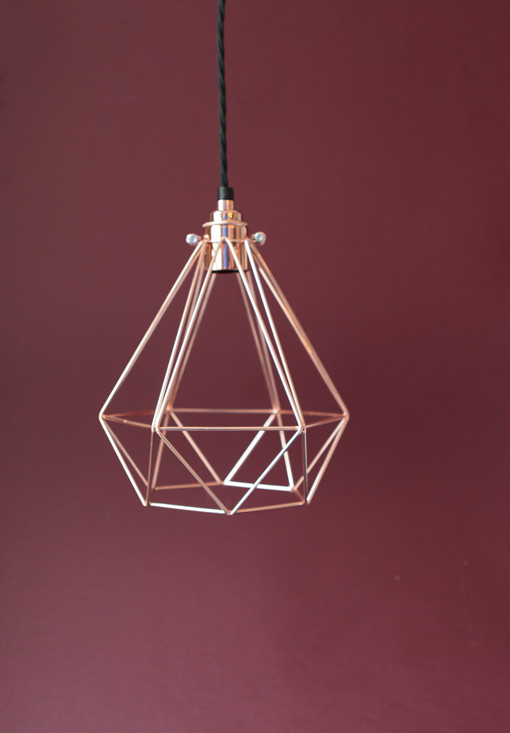 copper light cage marsala background