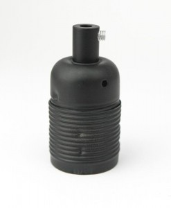 E27 Domed Black Lamp Holder