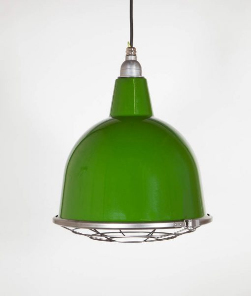 green enamel caged light