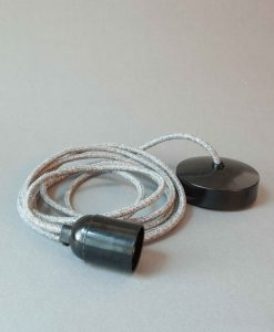 Bakelite Light Fittings Grey Fabric Cable