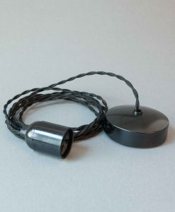 Bakelite Light Fittings Black Twisted Fabric Cable