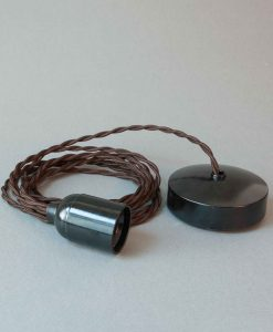 Bakelite Light Fittings Brown Twisted Fabric Cable