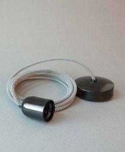 Bakelite Light Fittings Black & White Fabric Cable