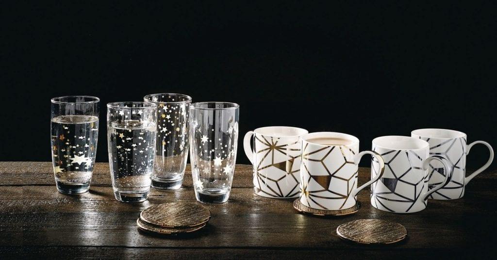 black & gold geo mugs next