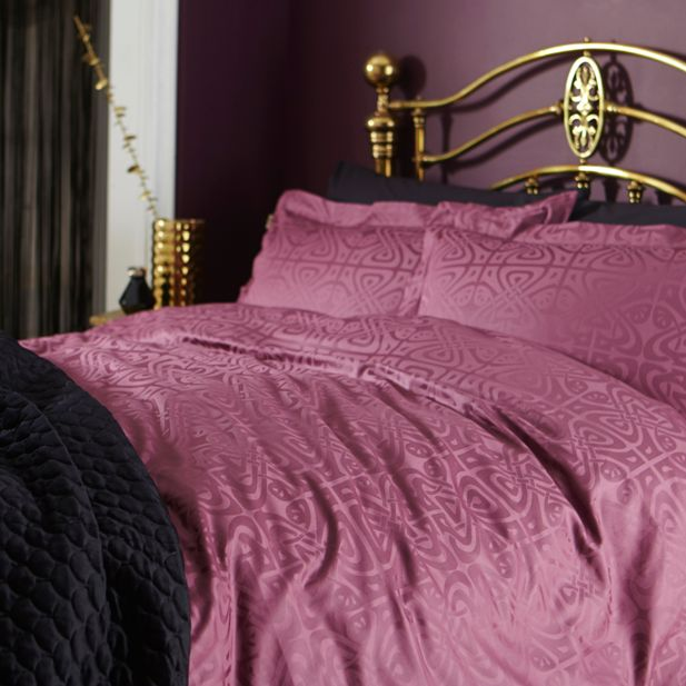 plum black and gold bedroom