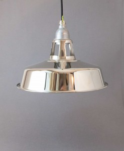 Metal Pendant Light Silver Chrome - Industrial Factory Style