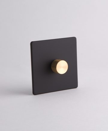 designer dimmer switch single black & gold