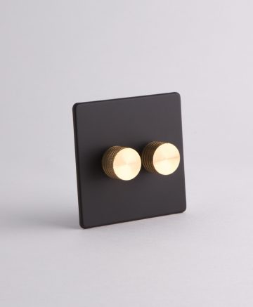designer dimmer switch double black & gold