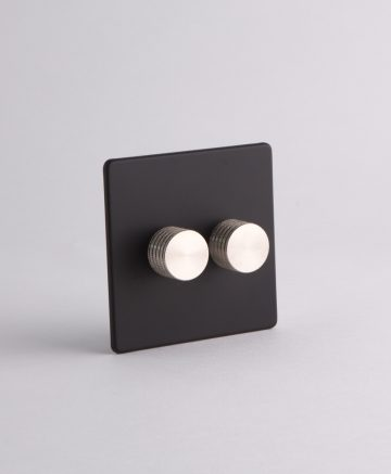designer dimmer switch double black & silver
