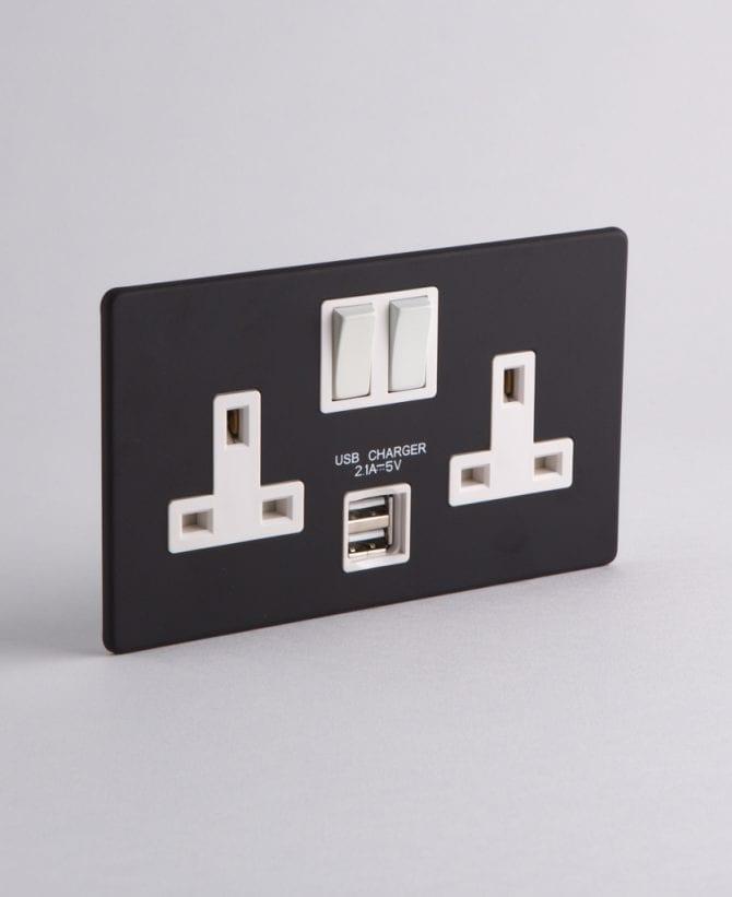 2 gang black & white USB