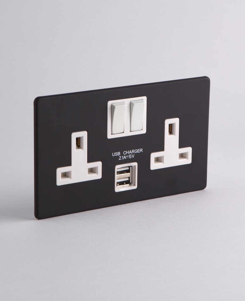 black double socket with usb with white inserts on white background