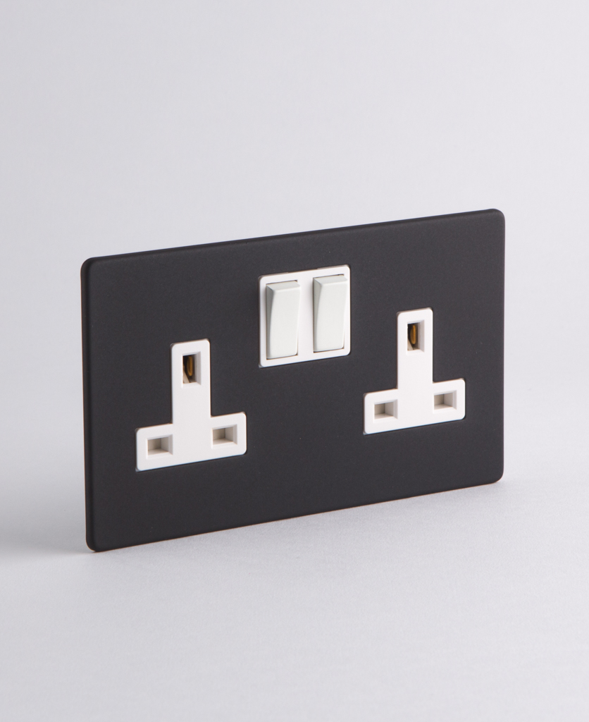 black wall socket with white inserts on a white background