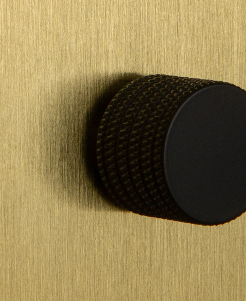 Single Gold Dimmer Switch with Knurled Black Knob