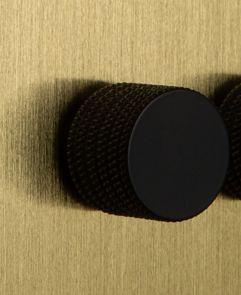 Double Gold Dimmer Switch with Knurled Black Knobs