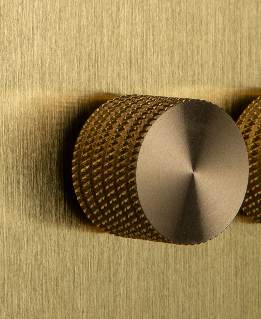 Double Gold Dimmer Switch with Knurled Gold Knobs