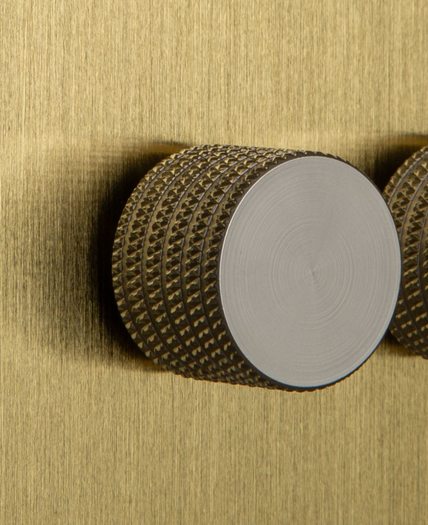Double Gold Dimmer Switch with Knurled Silver Knobs