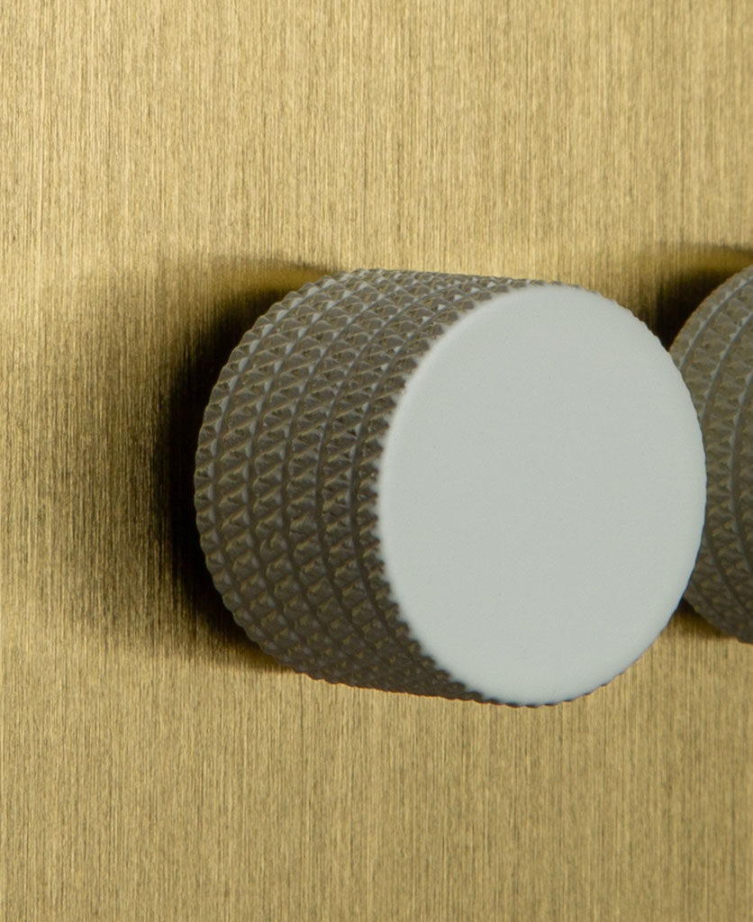 Double Gold Dimmer Switch with Knurled White Knobs