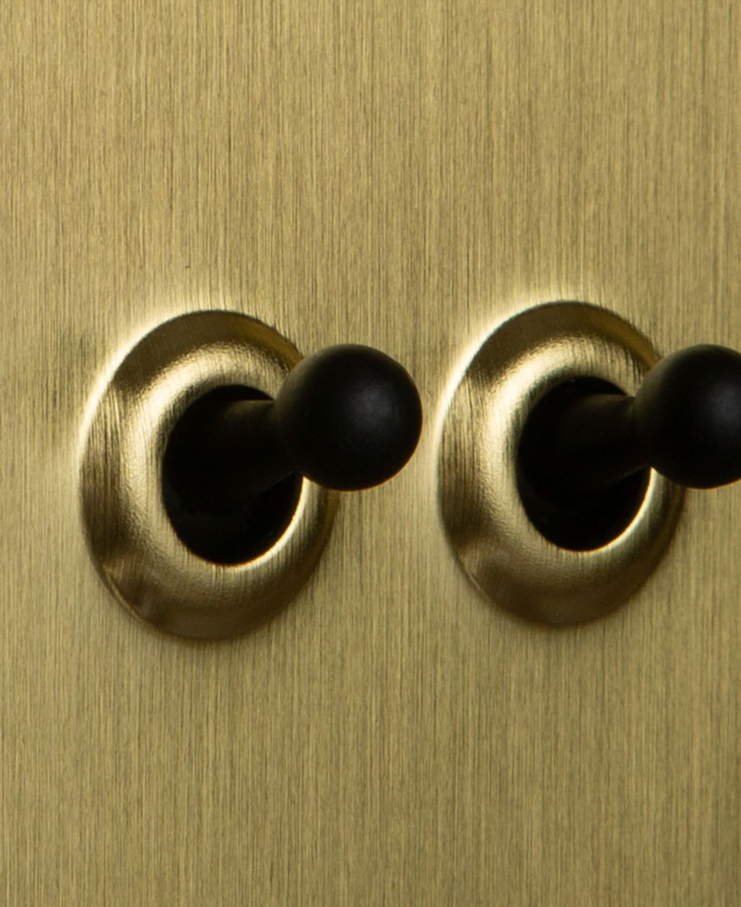 Double gold toggle switch with black toggles