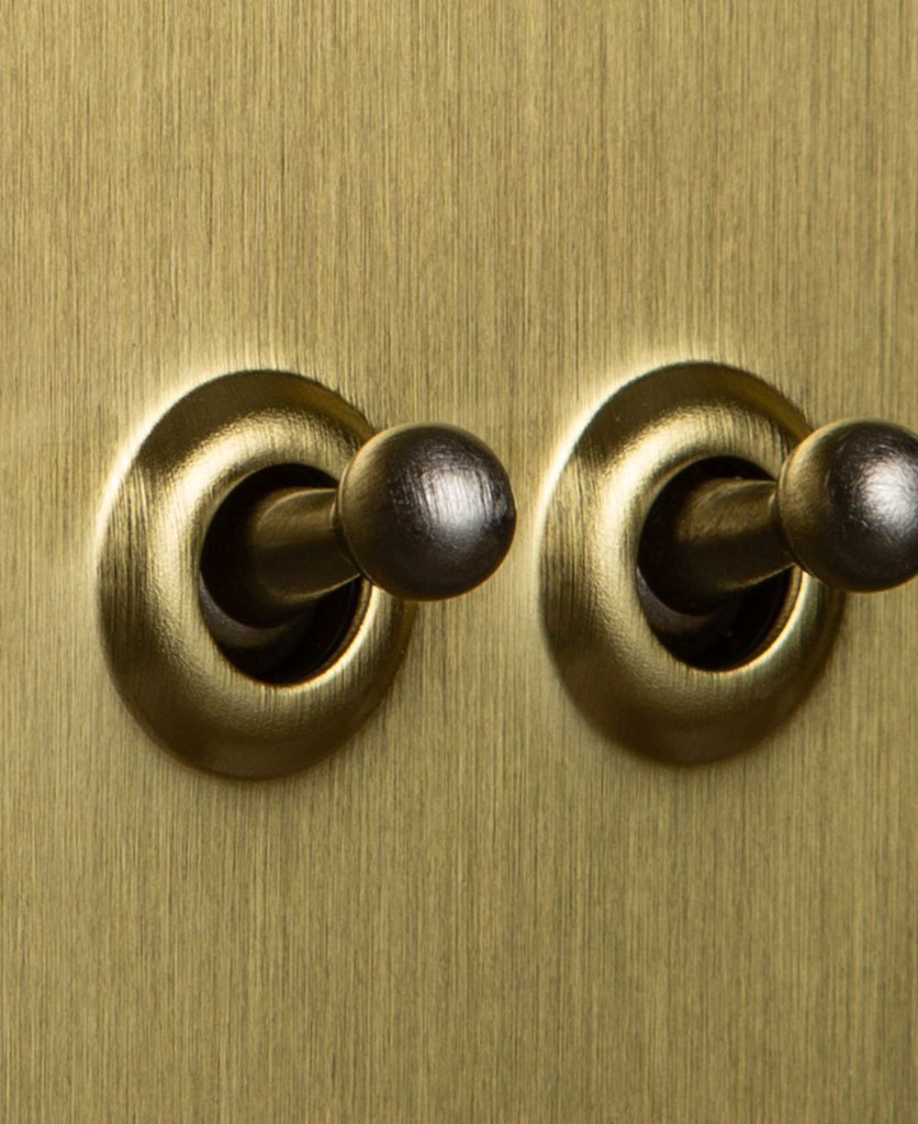 Double gold toggle switch with silver toggles