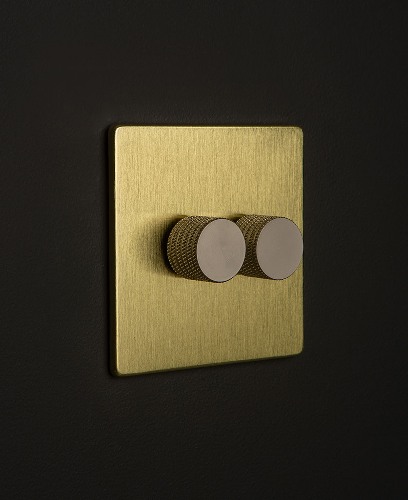 Gold LED Double Dimmer Silver Knobs