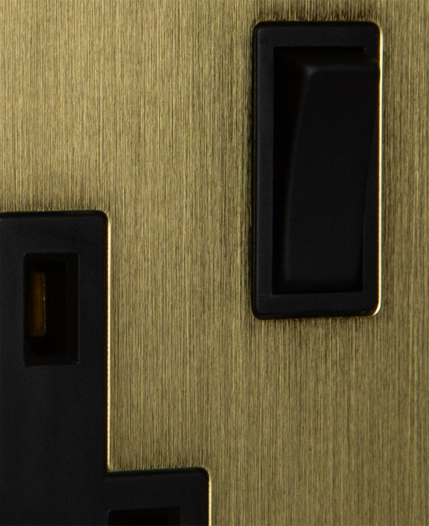 metal plug sockets gold with black inserts closeup