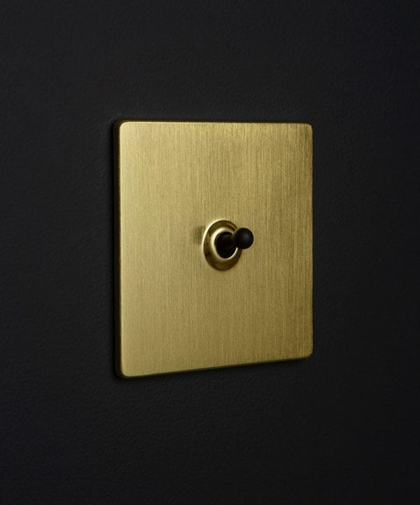 Brass toggle switch with black toggle detailing against black wall